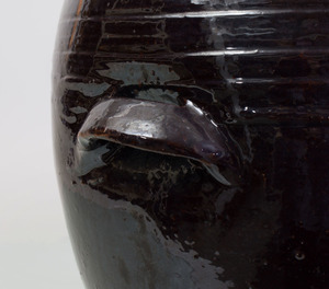 BLACK GLAZED POTTERY JAR AND COVER, POSSIBLY JAPANESE