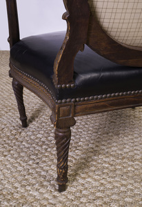 PAIR OF LOUIS XVI STYLE STAINED BEECHWOOD AND LEATHER UPHOLSTERED FAUTEUILS À LA REINE