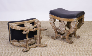PAIR OF ITALIAN NEOCLASSICAL STYLE PICKLED WOOD STOOLS