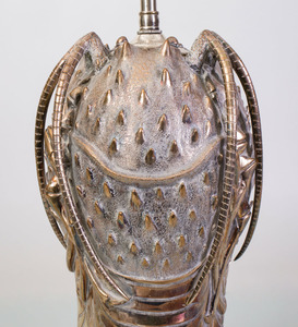 MODERN SILVERED-METAL LOBSTER-FORM LAMP