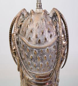 MODERN SILVERED-METAL LOBSTER-FORM LAMP