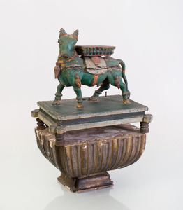 INDIAN CARVED AND PAINTED WOOD FIGURE OF A BULL