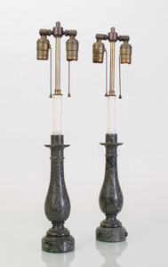 PAIR OF WHITE AND GREEN MARBLE CANDLESTICK LAMPS