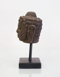 CARVED STONE FRAGMENT HEAD OF BUDDHA