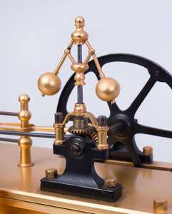 FRENCH INDUSTRIAL GILT-BRASS, PATINATED-METAL AND MARBLE AUTOMATON STEAM BOILER MODEL
