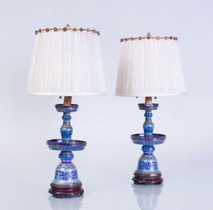 PAIR OF CHINESE CLOISONNÉ ENAMEL PRICKET STICKS MOUNTED AS LAMPS
