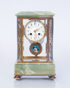 FRENCH GILT-METAL-MOUNTED HARDSTONE AND CHAMPLEVÉ ENAMEL CLOCK
