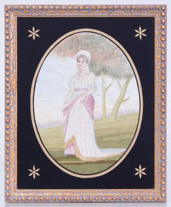 TWO REGENCY STYLE SILK WORK PICTURES