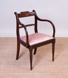 REGENCY CARVED MAHOGANY ARMCHAIR