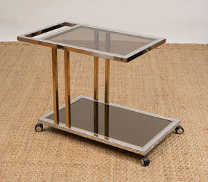 CHROME, BRASS AND GLASS SERVING CART, STYLE OF ROMEO REGGA
