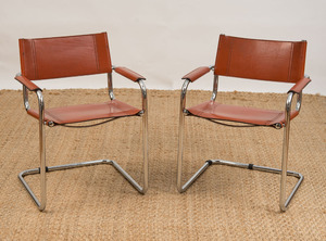 PAIR OF MART STAM CHROME AND LEATHER CANTILEVER CHAIRS