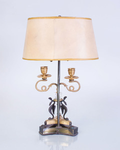 CONTINENTAL NEOCLASSICAL STYLE GILT AND PATINATED BRONZE-MOUNTED ROCK CRYSTAL TWO-LIGHT LAMP
