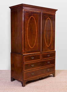 GEORGE III MAHOGANY AND SATINWOOD INLAID LINEN PRESS
