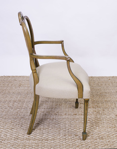 GEORGE III PAINTED AND POLYCHROME-DECORATED ARMCHAIR