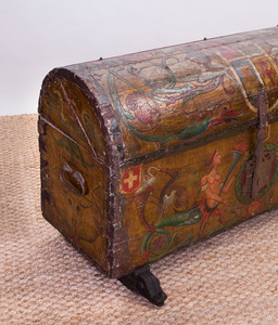 ITALIAN PAINTED WOOD DOMED CASSONE