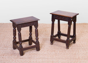 PAIR OF WILLIAM AND MARY STYLE OAK JOINT STOOLS