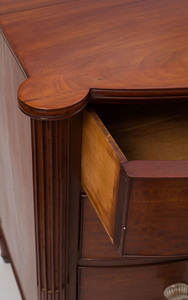 Mahogany Locking Bow-Front Chest of Drawers