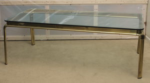 LARGE BRASS AND GLASS DINING TABLE FOR WIDDICOMB