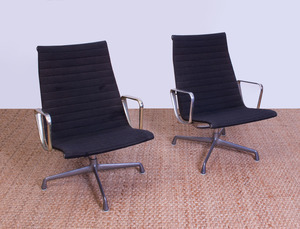 PAIR OF EAMES ALUMINUM AND HOPSACK CLOTH 'ALUMINUM GROUP' CHAIRS FOR HERMAN MILLER
