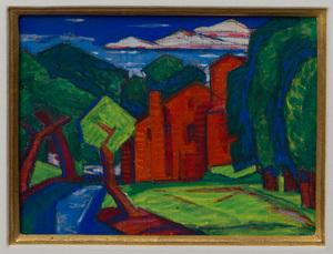 OSCAR BLUEMNER (1867-1938): BUTTER FACTORY, MONTGOMERY STREET, BLOOMFIELD, NEW JERSEY