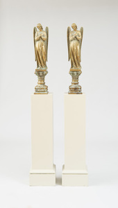 PAIR OF MEDIEVAL STYLE BRONZE FIGURES OF ANGELS
