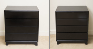 PAIR OF BLACK LACQUER CHESTS