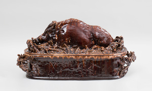 FRENCH BROWN-GLAZED POTTERY WILD BOAR TUREEN AND COVER