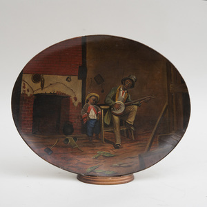 Papier-Mâché Oval Tray with Interior Scene of Man Playing a Ukulele, Attended by a Child