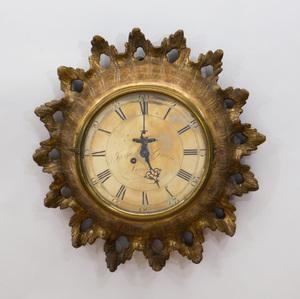 GEORGE III CARVED GILTWOOD WALL CLOCK