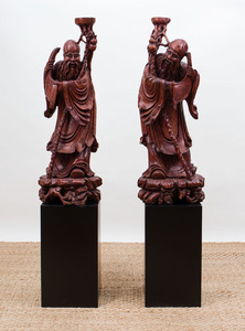 PAIR OF CHINESE HARDWOOD CARVINGS OF LUOHAN