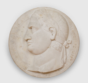 RELIEF CARVED MARBLE RONDEL OF TITUS VESPASIAN CAESAR, AFTER THE ANTIQUE