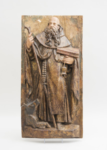 FRENCH CARVED AND PAINTED WOOD RELIEF PANEL OF ST. ANTHONY THE ABBOT