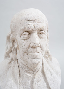 White Painted Plaster Bust of Benjamin Franklin, After Jean-Antoine Houdon (1741-1828)