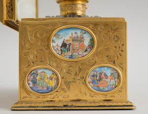 FRENCH ENGRAVED GILT-METAL PERFUME COFFRET