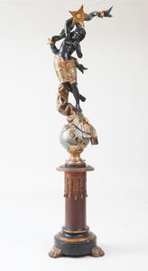 VENETIAN ROCOCO STYLE PAINTED AND PARCEL-GILT FEMALE MOOR FIGURE ON A GLOBE