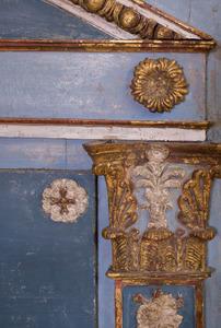 DIRECTOIRE BLUE PAINTED AND PARCEL-GILT TRUMEAU