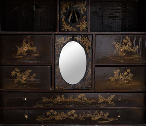 Chinese Export Black Lacquer and Parcel-Gilt Desk and Cabinet