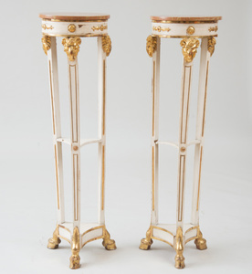 PAIR OF CONTINENTAL NEOCLASSICAL STYLE PAINTED AND PARCEL-GILT PEDESTALS
