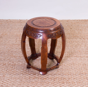 CHINESE CARVED HARDWOOD DRUM-FORM STOOL
