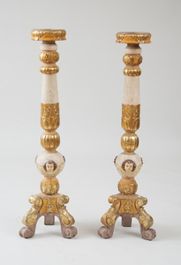 PAIR OF CONTINENTAL BAROQUE STYLE PAINTED AND PARCEL-GILT PEDESTALS, PROBABLY AUSTRIAN