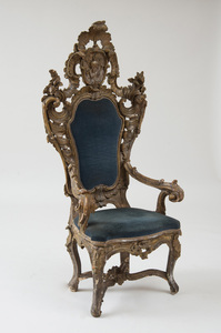 ITALIAN ROCOCO PAINTED AND SILVER-GILT THRONE CHAIR, NAPLES