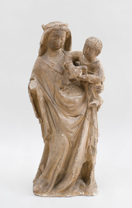 FRENCH LIMESTONE GROUP OF THE VIRGIN MARY AND CHILD