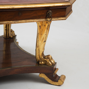 GEORGE IV MAHOGANY AND PARCEL-GILT CENTER LIBRARY TABLE