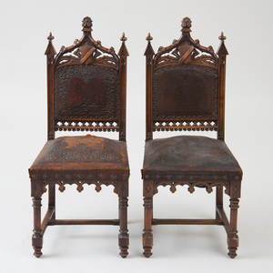 PAIR OF NEOGOTHIC CARVED OAK SIDE CHAIRS
