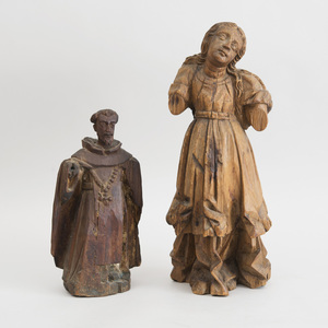 CONTINENTAL CARVED WOOD FIGURE OF A FEMALE AND A FIGURE OF A DOMINICAN FRIAR