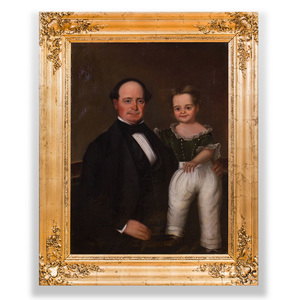 American School: Portrait of Father and Child