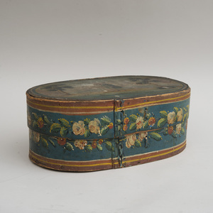 Painted Oval Bentwood Bread Box and Cover