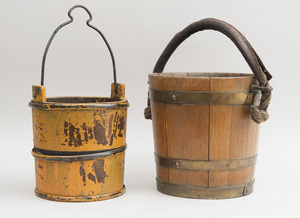 Metal-Banded Mustard-Ground Wood Bucket and a Brass-Banded Oak Bucket