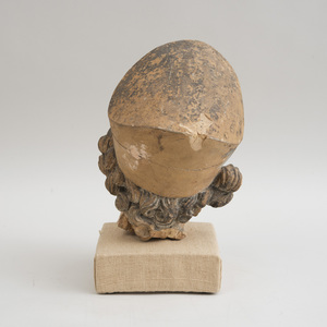 FRENCH PAINTED TERRACOTTA HEAD OF A SOLDIER