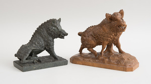 CONTINENTAL CARVED WOOD FIGURE OF A BOAR AND A CARVED MARBLE FIGURE OF THE BORGHESE BOAR, AFTER THE ANTIQUE